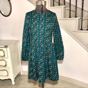 Zara Trafaluc Green Paisley Peasant Dress Tunic